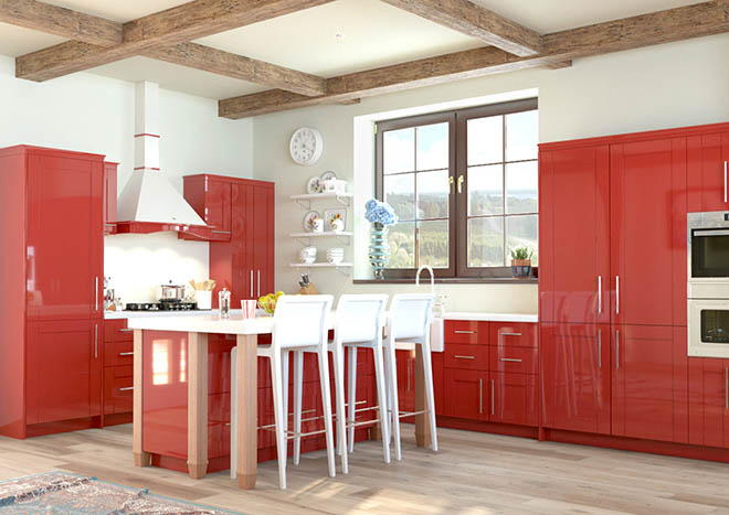 Washington High Gloss Red Kitchen Doors From Made To Measure