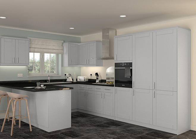 Washington High Gloss Silver Kitchen Doors
