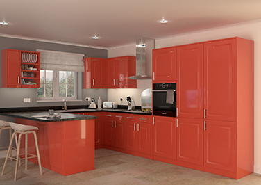 Buxted High Gloss Red Kitchen Doors