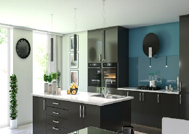 Lewes High Gloss Graphite Kitchen Doors