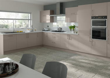 Lewes High Gloss Stone Grey Kitchen Doors