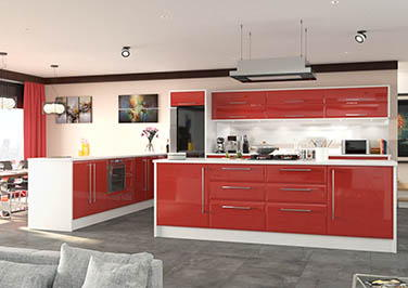 Newick High Gloss Red Kitchen Doors