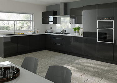 Ringmer High Gloss Black Kitchen Doors