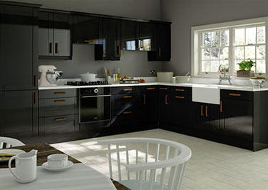 Washington High Gloss Black Kitchen Doors