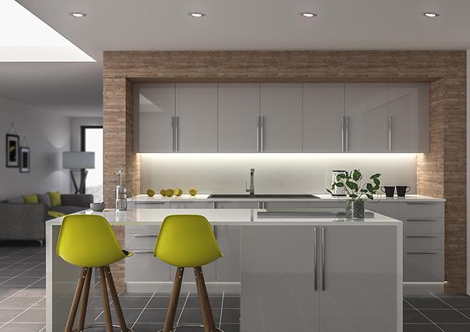 Ultragloss light grey kitchen doors from made to for Kitchen ideas grey gloss