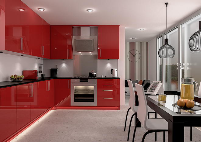 Ultragloss red kitchen doors made to measure from for Red gloss kitchen units