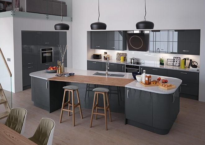 High Gloss Anthracite Kitchen Doors From - Anthracite grey kitchen