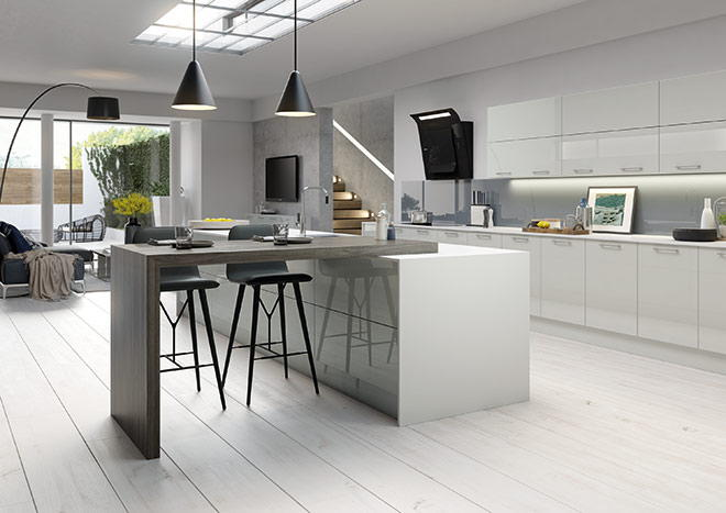 High Gloss Grey Kitchen Doors