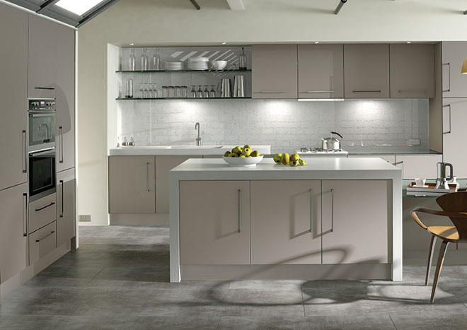 Ultramatt metallic cashmere kitchen doors from made to measure Howdens kitchen design reviews