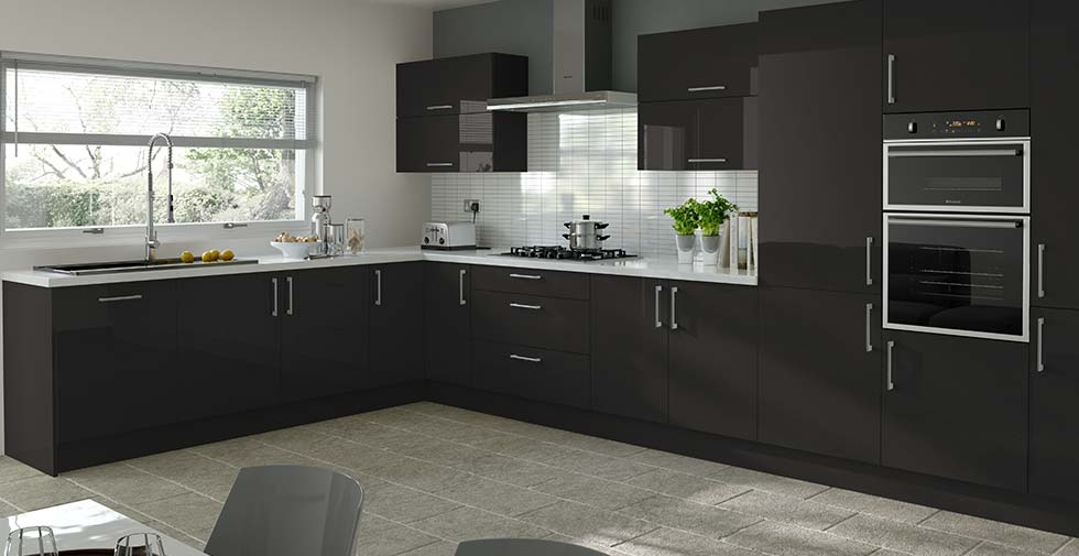 details about high gloss black kitchen doors