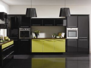 Pisa High Gloss Black and Riven Lime Kitchen Doors