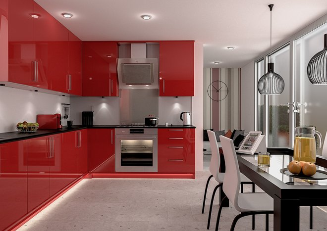 Kitchen with gloss red cabinet doors