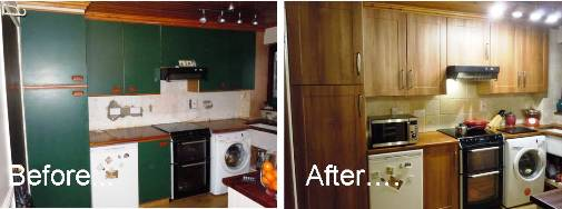before and after - new shaker kitchen doors