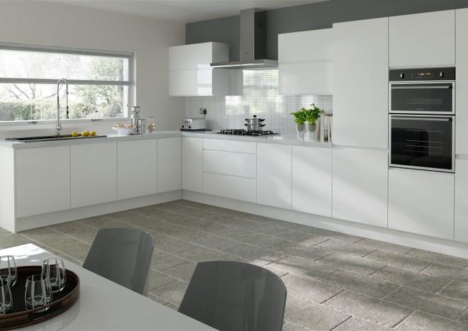 silk white handless kitchen door