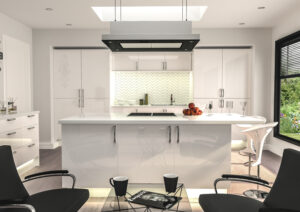 modern kitchen with gloss white cabinet doors