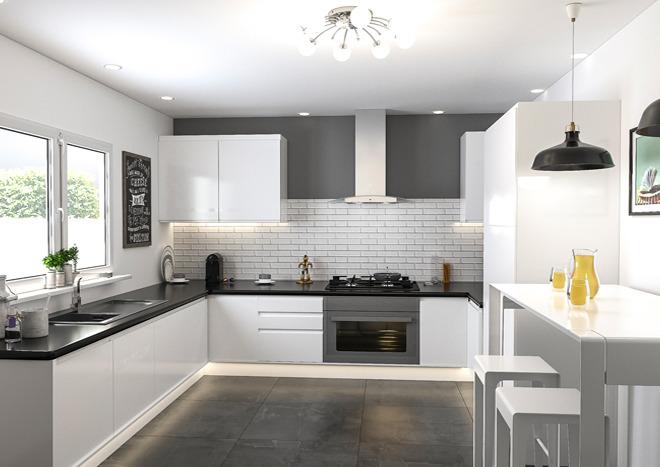 Modern kitchen with gloss white handleless cabinet doors