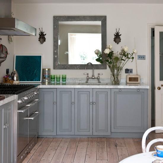 Grey Kitchen with Wood Floor