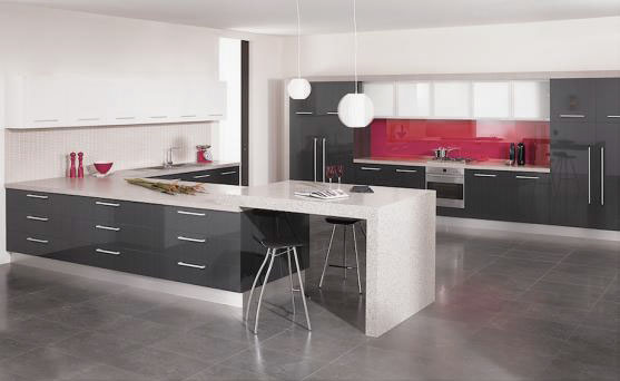 Grey and Red Kitchen