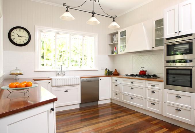 white kitchen doors with parquet