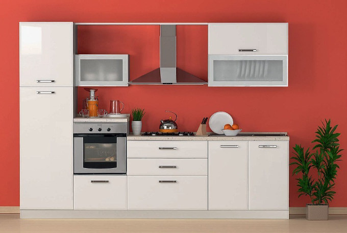one wall kitchen in silk white colour