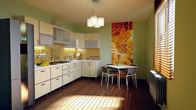 rectangular kitchen with cream doors