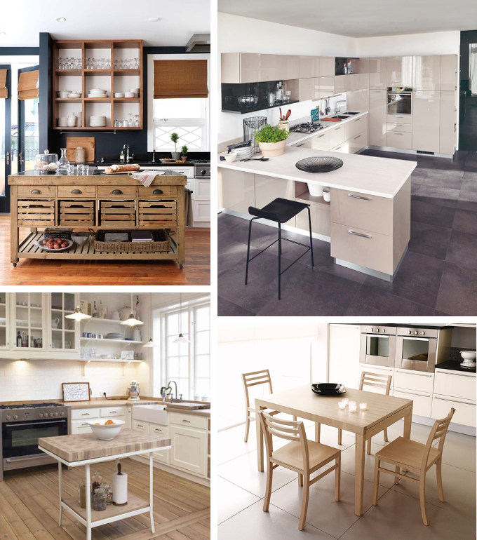 Work tables for rectangular kitchen