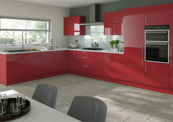 Modern kitchen with glossy red doors