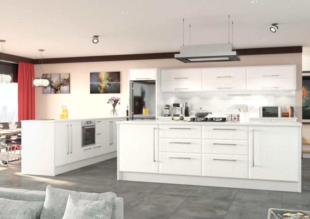 Modern kitchen with white woodgrain unit doors