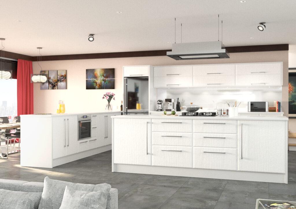 Modern kitchen with white woodgrain unit doors