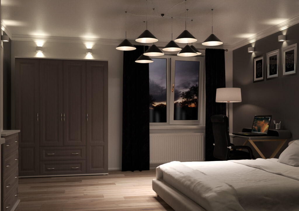 Bedroom with dark grey woodgrain wardrobe doors