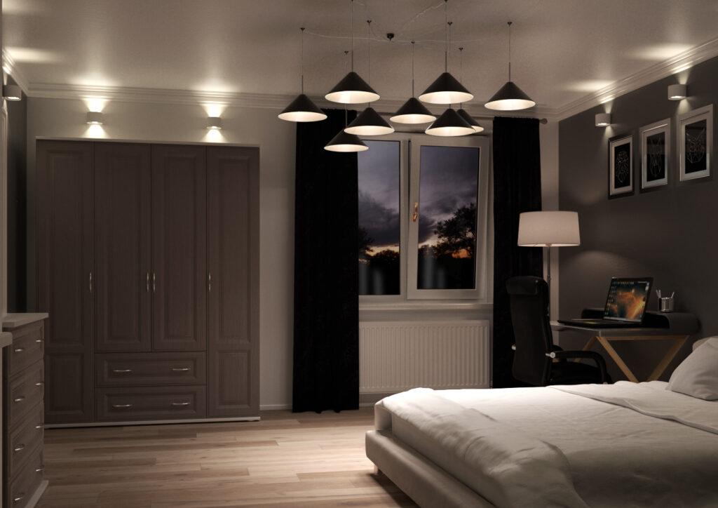 Bedroom with dark grey woodgrain wardrobe doors