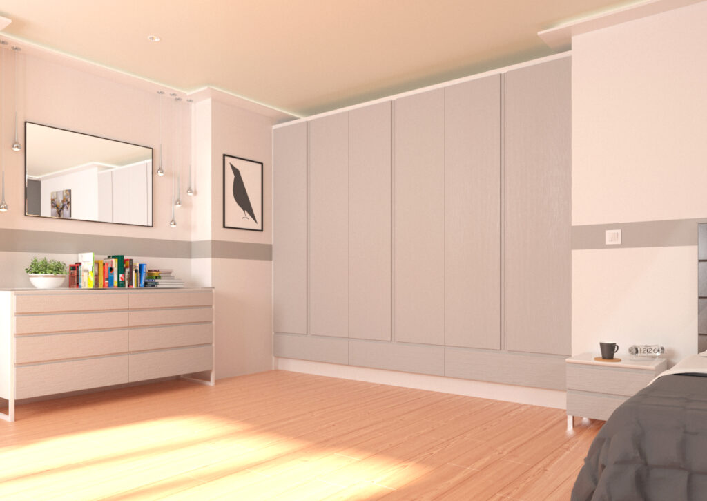 Modern bedroom with pale grey woodgrain wardrobe doors
