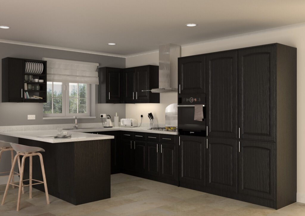 Modern kitchen with black woodgrain cabinet doors