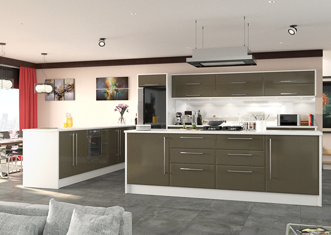 high gloss graphite kitchen