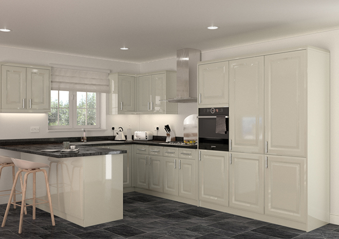 kitchen with glossy ivory cabinet doors