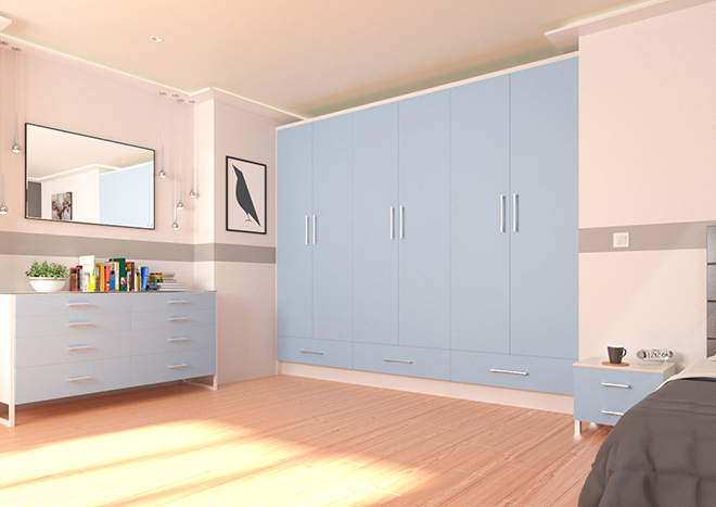 Wardrobe doors in Denim Blue