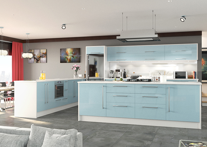 pale blue gloss finish kitchen cabinet doors