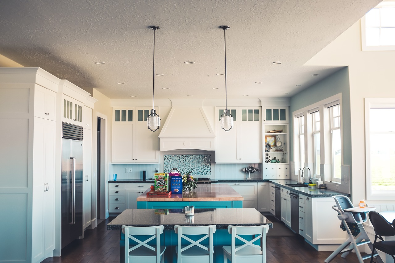kitchen with blue interior