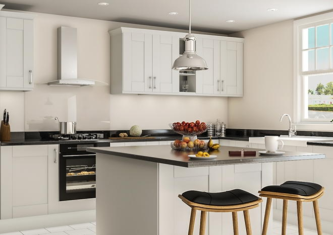 modern kitchen with matt light grey kitchen doors