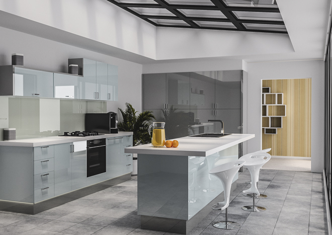 Modern kitchen with gloss blue cabinet doors