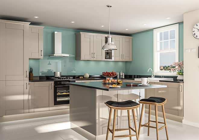 Kitchen with glossy pale grey Shaker cabinet doors