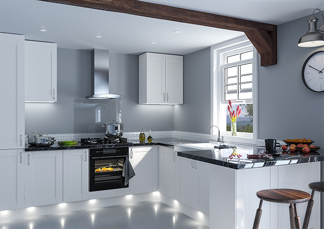 Kitchen with white Shaker style unit doors