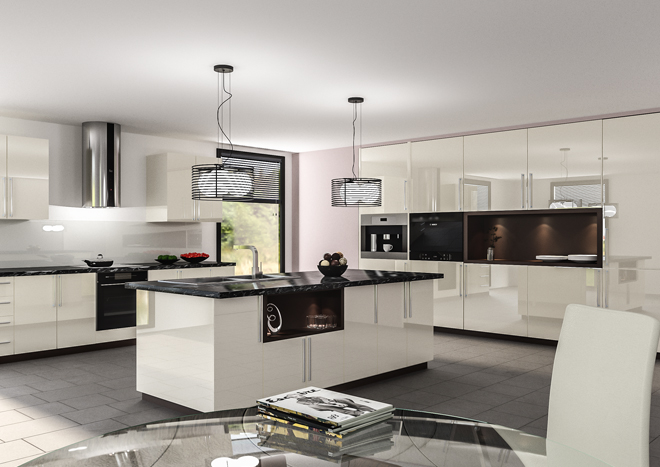 Modern kitchen with white gloss unit doors and black worktops