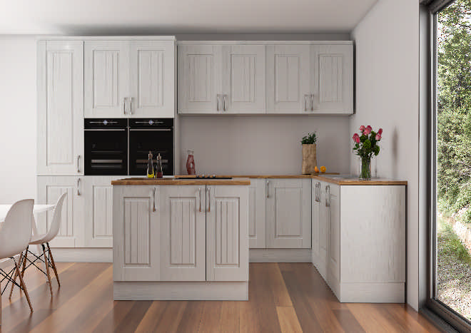 pale grey rustic kitchen doors, kitchen island, wooden flooboards