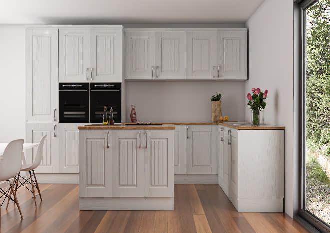 pale grey rustic kitchen doors, kitchen island, wooden flooboards