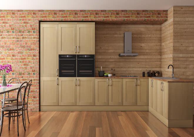 woodgrain kitchen doors, exposed brick wall, wooden flooring