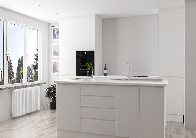 white handleless kitchen doors, modern kitchen with island