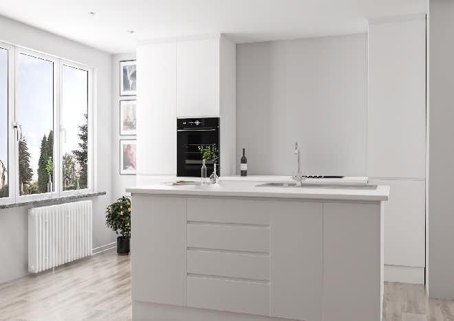 white handleless kitchen doors, modern kitchen with island