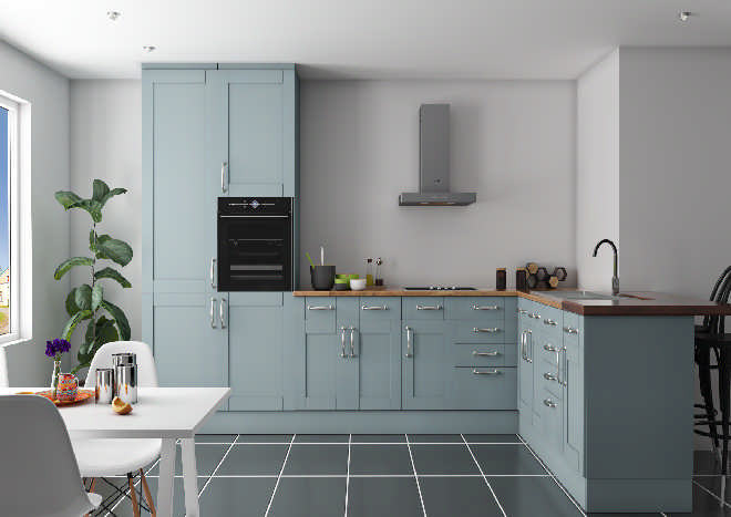 blue shaker kitchen doors, white walls, grey floor tiles