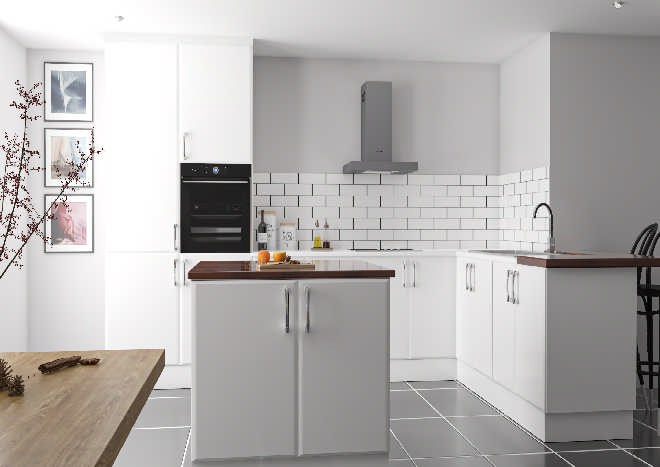 modern white kitchen, white kitchen doors, wooden table